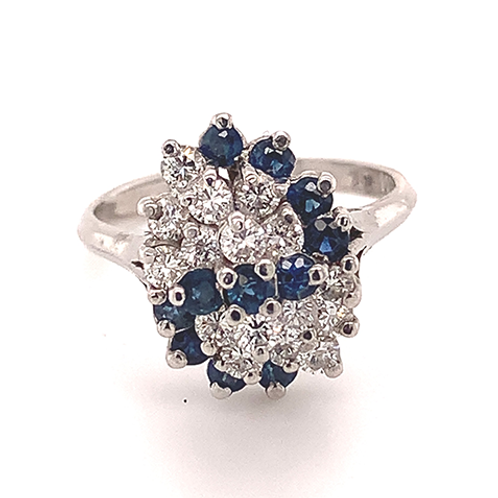 Diamond and Sapphire Cluster Ring, in 14k White Gold