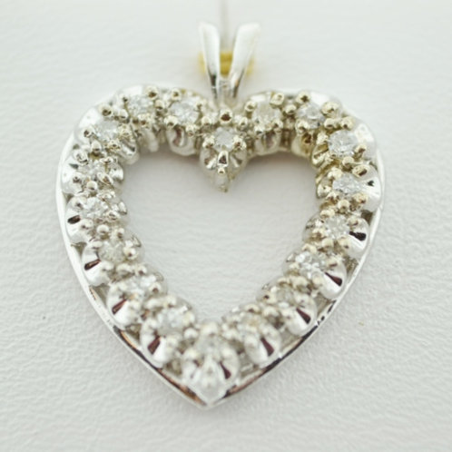 Neo-Vintage Diamond Heart Pendant, Set in 14k White Gold