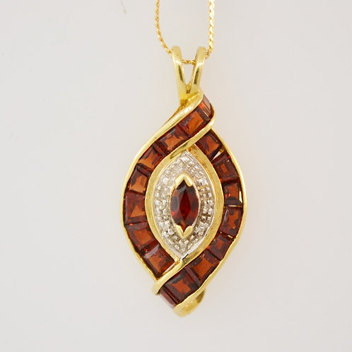 Garnet Pendant with Diamond Accents in 14k Yellow Gold