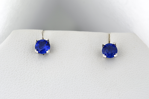 Lab-Certified Sapphire Studs, in 14k White Gold