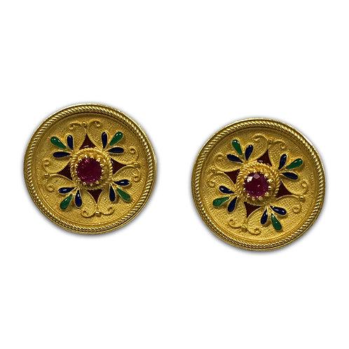 Burmese Ruby Earrings, Set in 18k Yellow Gold