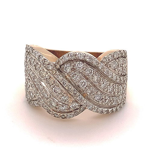 Wide Diamond Band, in 14k Yellow Gold