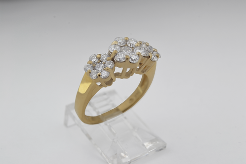 Triple Flower Diamond Ring, in 14k Yellow Gold