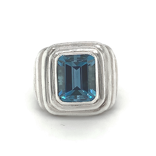 Blue Topaz Ring, in Sterling Silver