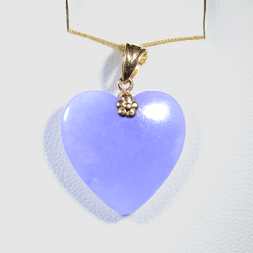 Lavender Jade Heart Pendant, in 14k Yellow Gold