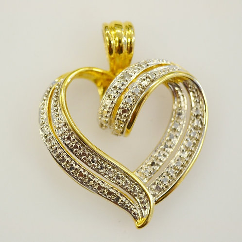 Two Tone Sterling Silver Vermeil Heart Pendant with Single Diamond Accent