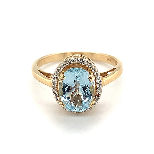 Aquamarine and Diamond Ring, in 14k Yellow Gold