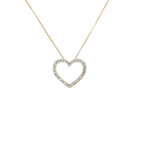 "Diamond Heart Pendant w/ 18"" Chain, in 14k Yellow Gold"