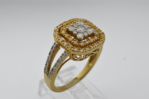 Double Halo Diamond Cluster Ring in 14k Yellow Gold