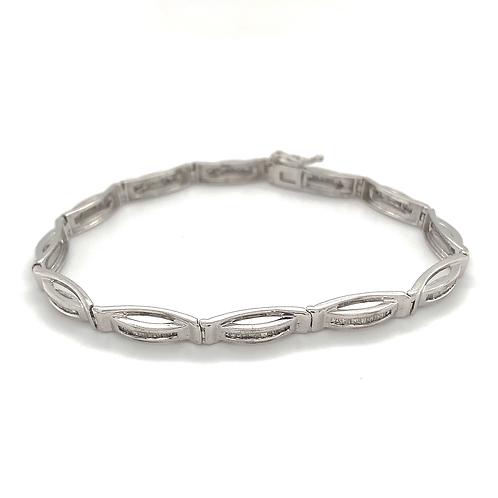 Channel-set Link Diamond Bracelet, in 10k White Gold