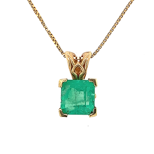 Emerald Solitaire Pendant, in 14k Yellow Gold