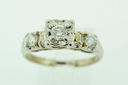 Diamond Engagement Ring, Set in 14k White Gold