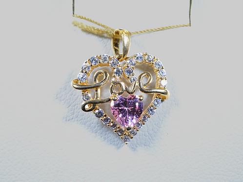 """CZ """"Love"""" Heart Pendant, in 10k White Gold"""