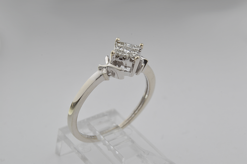 Square-Cut Diamond Ring, in 10k White Gold
