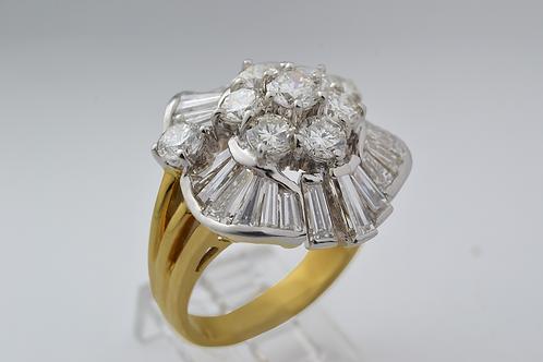 Handmade Cluster Diamond Ring, in 18k Yellow Gold
