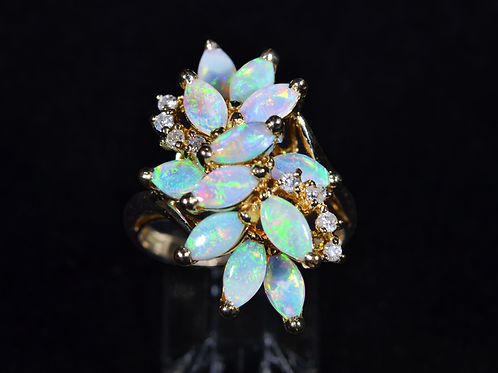 Natural Opal Ring with Diamond Accents, in 14k Yellow Gold