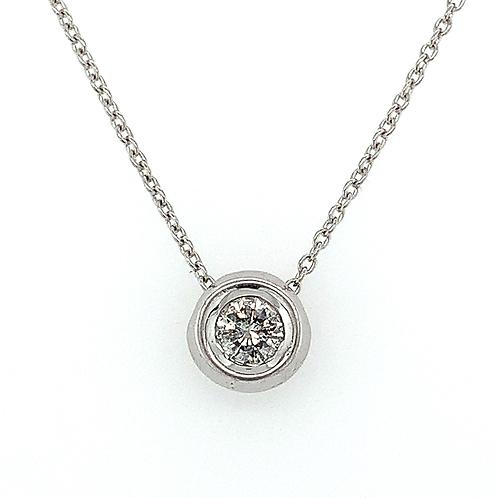 Diamond Solitaire Pendant, in 14k White Gold