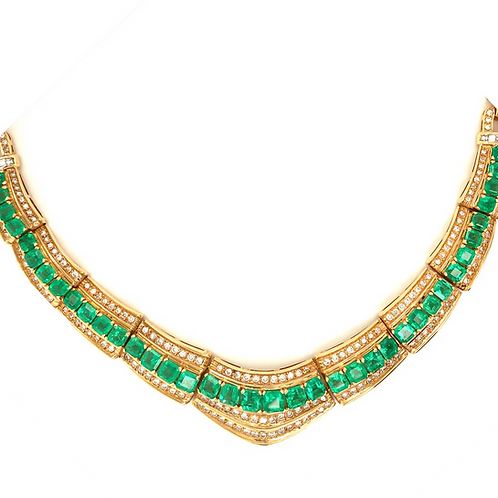 Natural Emerald and Diamond Necklace, in 14k Yellow Gold