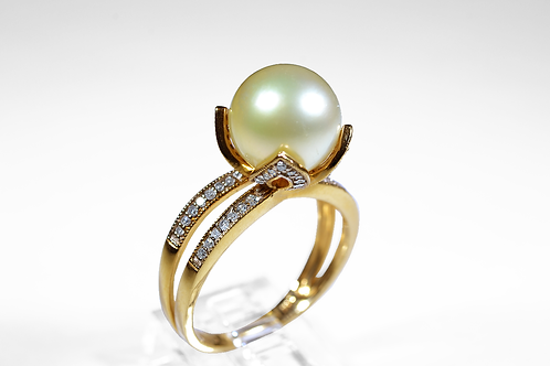 Cream Pearl Ring with Diamond Accents, in 14k Yellow Gold