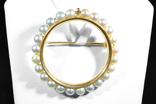 Pearl Brooch, in 14k Yellow Gold