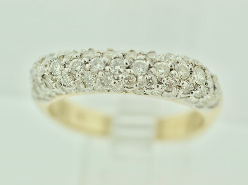 Dome Shaped Diamond Ring in 14k Yellow Gold