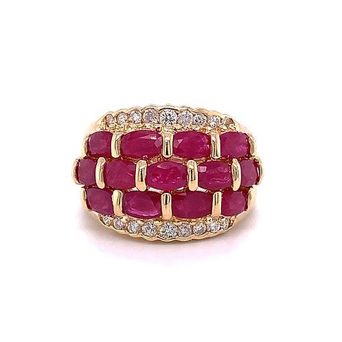 Ruby & Diamond Ring, in 14k Yellow Gold