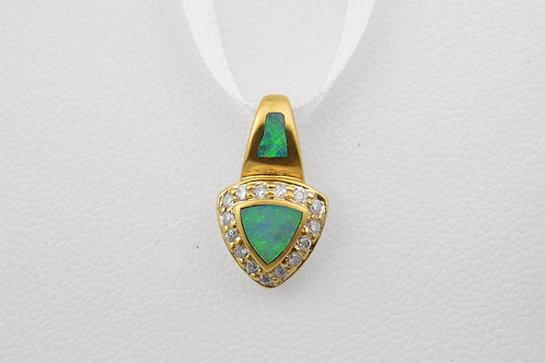 Inlaid Opal and Diamond Pendant, in 14k Yellow Gold