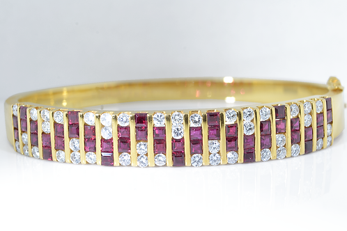 Multi-Channel Ruby and Diamond Bangle, in 18k Yellow Gold