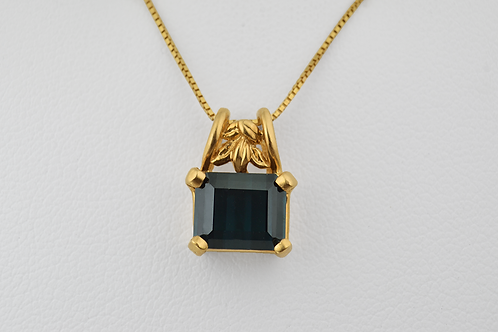 Tourmaline Solitaire Pendant in 14k Yellow Gold