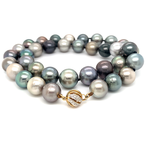 "18"" Tahitian Pearl Necklace with 14k Yellow Gold & Diamond Clasp"
