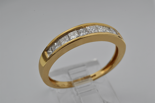 Princess-cut Diamond Channel set band in 14k Yellow Gold