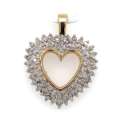 Diamond Open Heart Pendant, in 10k Yellow Gold