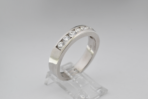 Round Diamond Channel Band, in 14k White Gold