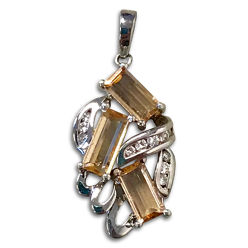Precious Topaz and Diamond Pendant, in 14k White Gold