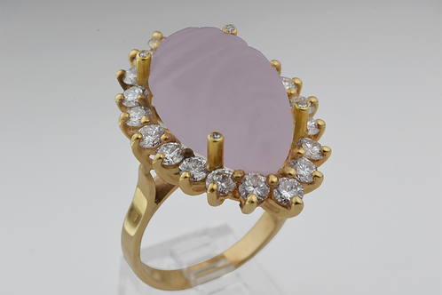 Rose Quartz and Diamond Ring, in 14k Yellow Gold