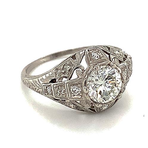 Handmade Antique Diamond Ring, in Platinum