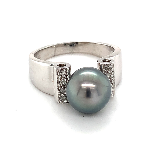Black Pearl Ring with Diamond Accents, in 14k White Gold