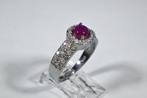 Star Ruby and Diamond Ring in 18k White Gold