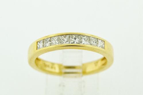 Princess-cut Diamond Band, Set in 14k Yellow Gold
