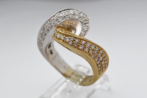 Diamond Crossover Ring, in 14k Two-Tone Gold