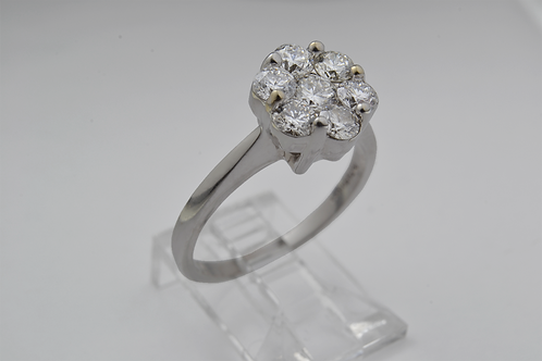 Diamond Flower Ring, in 14k White Gold