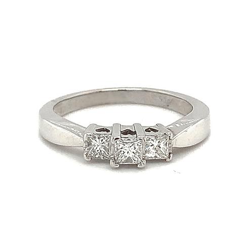 Square-Cut Diamond Ring, in 10k White Gold