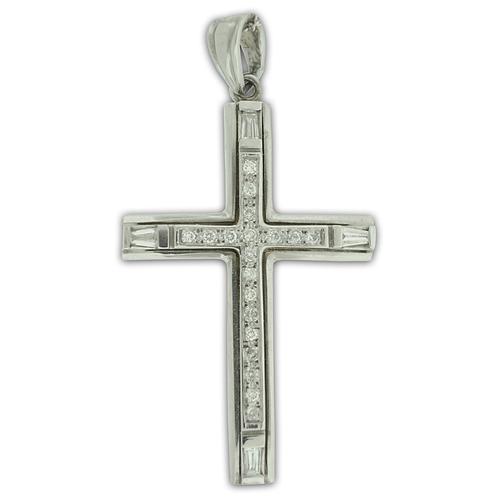 Diamond Cross Pendant  in 14k White Gold