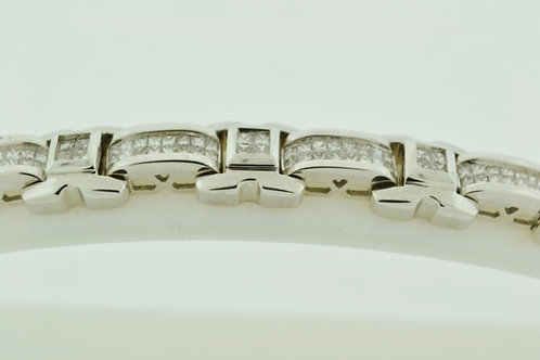 Invisible-set Diamond Bracelet, Set in 14k White Gold