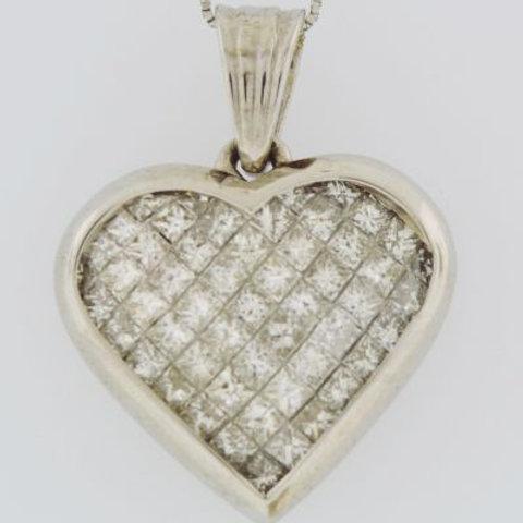 Diamond Heart Pendant, Set in 14k White Gold