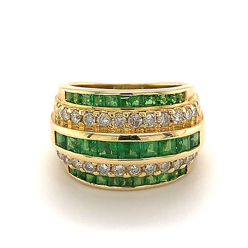 Emerald and Diamond Wide Band, in 14k Yellow Gold