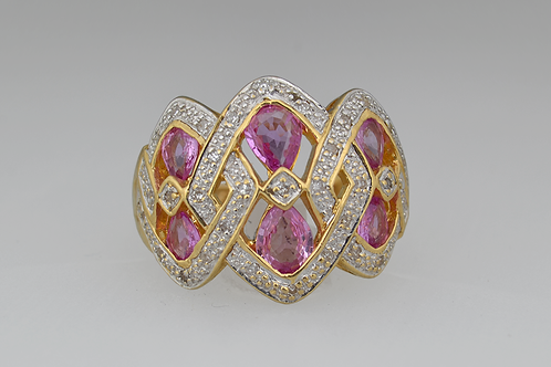 Pink Sapphire Ring with Diamond Accents, in 14k Yellow Gold