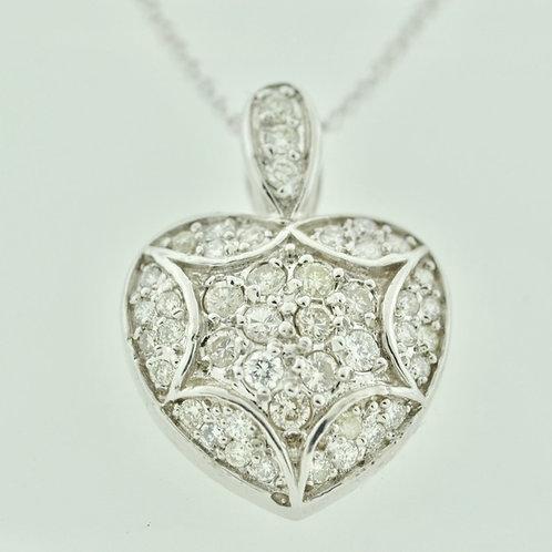 Heart Diamond Pendant, Set in 14k White Gold