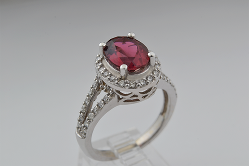 Tourmaline and Diamond Ring, in 14k White Gold