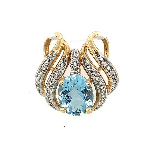 Aquamarine and Diamond Pendant, Set in 14k Yellow Gold